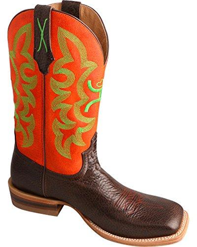 Twisted X Men's Neon Orange Hooey Cowboy Boot Square Toe Chocolate 10 D(M) US