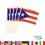 Puerto Rico Stick Flag,50 Pack Hand Held Small Puerto Rican Flag With Wood Pole International Countries World Stick Flags Banner,Party Decorations For Olympics,Sports Clubs,Festival Celebration