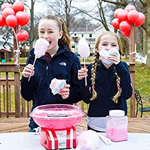 The Candery Cotton Candy Machine and Sugar Kit - Includes 50 Paper Cones & 3 Flavors & Sugar Scoop - Raspberry Blue, Strawberry, Vanilla - Kid-Friendly and Easy-to-Assemble UPGRADED (Color: red, pink,blue, Tamaño: Machine with 3 Pack Floss)