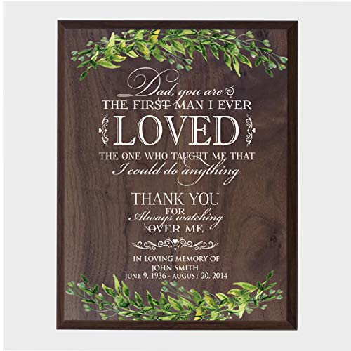 (LifeSong Milestones Personalized Wedding Dad You are Sympathy Gifts for Loss of Loved one Bereavement Wall Plaque for Loss of Mother Father Child with Leaf Border (Walnut))