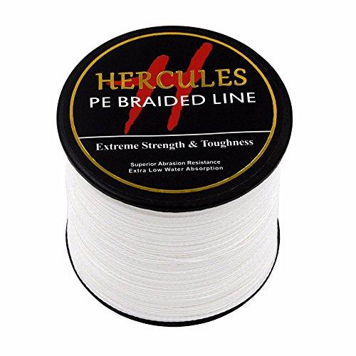HERCULES 500m 547yds White 6lbs-100lbs Pe Braid Fishing Line 4 Strands (50lb/22.7kg 0.37mm)