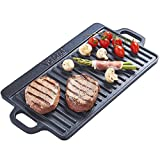 VonShef Non-Stick Cast Iron Reversible Griddle Pan Plate - 46 x 22 cm - for Induction, Gas and Electric Hobs