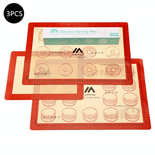 [ VFAD ] Baking Mat Set, FDA Non Stick Silicone Baking Mat With Measurements For Toaster Oven 2 Pcs Half Sheet & 1 Pc Small Toaster Oven Size (Small Toaster Oven Size compare prices)