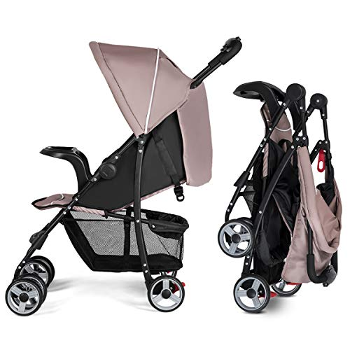 Costzon Lightweight Baby Stroller, Foldable Stroller with 5-Point Safety System and Multi Position Reclining Seat (Coffee)