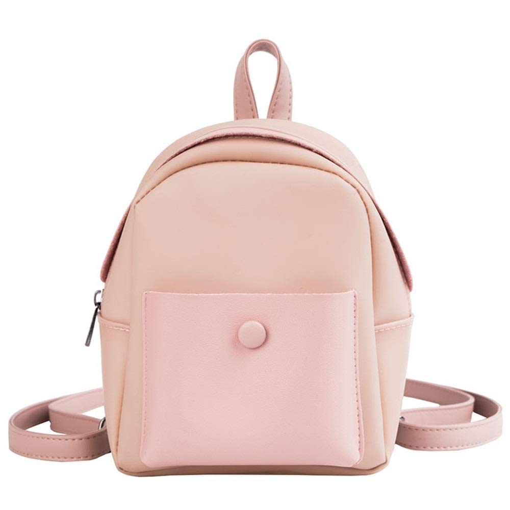 Pink One Size Fashion Lady Backpack Small Fresh Casual Female Backpack Simple Travel Female Backpack (color   Pink, Size   ONE Size)