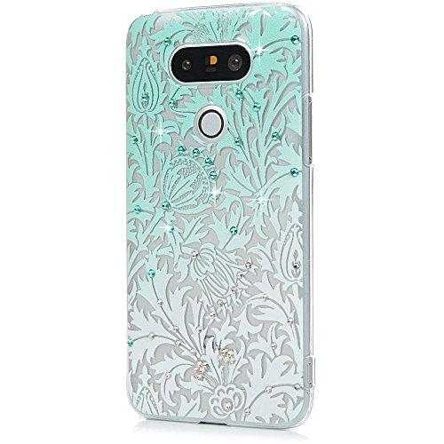 LG G5 Case - Maviss Diary 3D Handmade Bling Crystal Shiny Rhinestone Diamonds Special Hollow Floral Gradient Pattern Hard PC Cover Transparent Clear Case Pretty Elegant Design for LG G5 (LG H868)