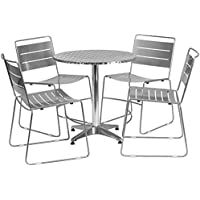 Flash Furniture 27.5 Round Aluminum Indoor-Outdoor Table Set with 4 Silver Metal Stack Chairs