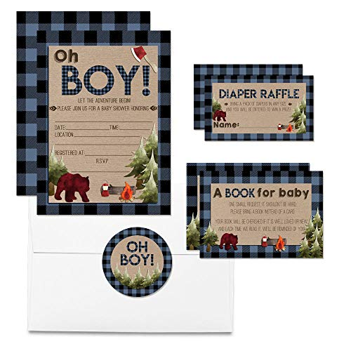 Deluxe Oh Boy! Blue Plaid Lumberjack Baby Shower Party Bundle, Includes 20 each of 5