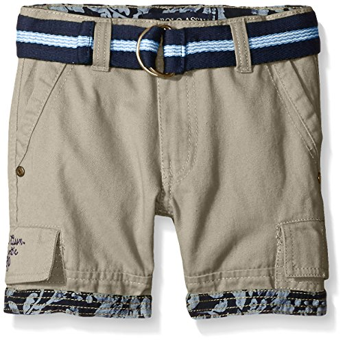 Toddler Boys Cargo Shorts Khaki (U.S. Polo Assn. Little Boys' Toddler Belted Cargo Twill Short, Light Khaki, 4T)