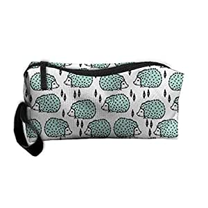 Hedgehog - Pale Turquoise Women¡¯s Travel Cosmetic Bags Small Makeup Clutch Pouch Cosmetic And Toiletries Organizer Bag