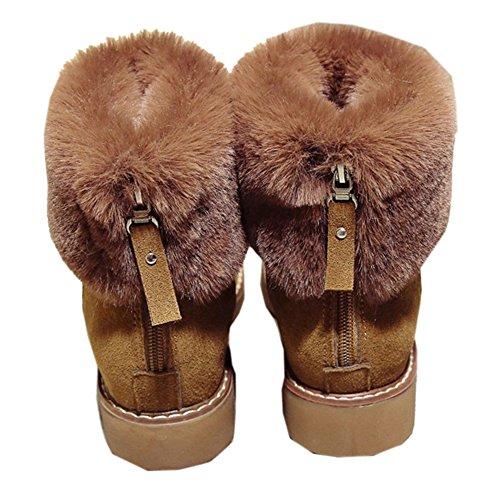 COOLCEPT Mujer Cremallera Zapatos con Tacon Bajo Tobillo Botas de Nieve Brown
