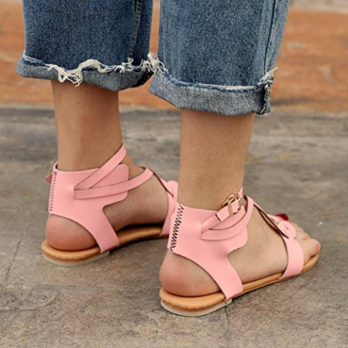 HLHN Women Sandals,Roman Gladiator Buckle Ankle Cross Strap Flat Heel Flip Flops Open-Toe Shoes Vintage Lady Pink