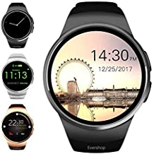 Evershop Smart Watch 1.5 inches IPS Round Touch Screen Water Resistant Smartwatch Phone with SIM Card Slot, Sleep Monitor, Heart Rate Monitor and Pedometer for iOS and Android Device (Black)