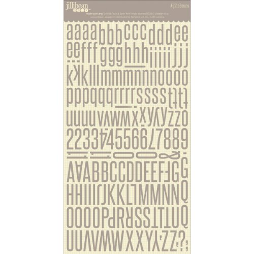 Alphabeans Large Cardstock Stickers 7''X12''-Mushroom Gray by Hampton Art