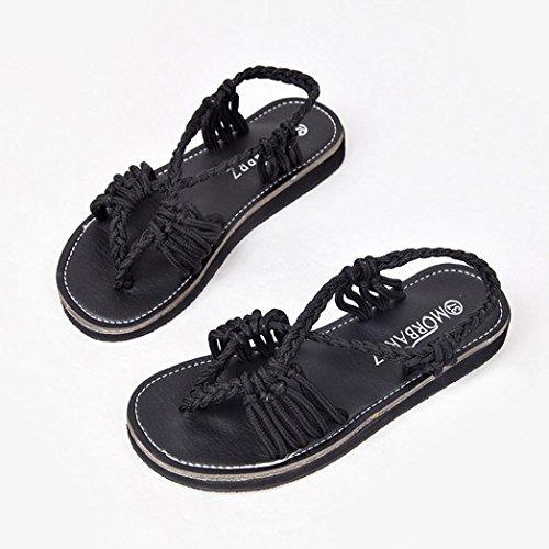 b77658957a3e21 Pompon En Femmes Pom ✿luoluoluo✿ Gladiateurs Bohème Noir Chaussures pom  Cuir Femme Sandales Plates 5qn4wfA