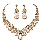 Youfir Bridal Rhinestone Crystal V-Shaped Teardrop Wedding Necklace and Earring Jewelry Sets for Brides Formal Dress (Champagne)