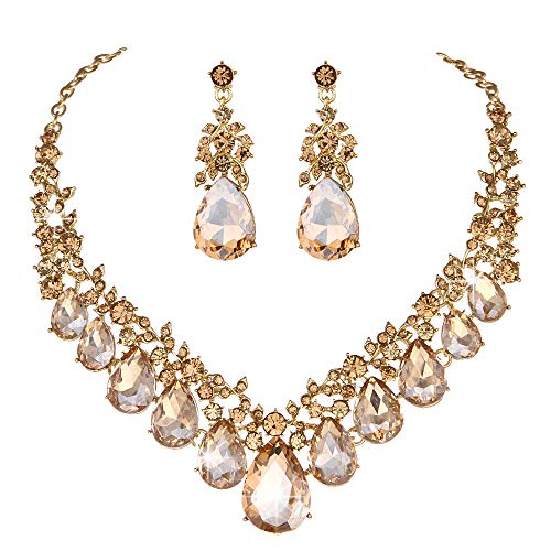 Flower Crystal Rhinestone Wedding Necklace - Youfir Bridal Rhinestone Crystal V-Shaped Teardrop Wedding Necklace and Earring Jewelry Sets for Brides Formal Dress (Champagne)
