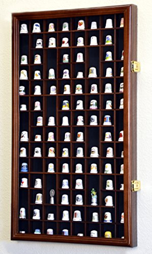 Thimble Small Miniature Display Case Cabinet Wall Rack 100-Openings -Walnut