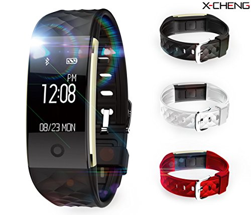 X-CHENG Fitness Tracker – IPX7 Waterproof OLED Touch Screen – And equipped with 3-color Watch Bands, free to change the color – Wireless Activity Trackers Smart Bracelet with Heart Rate Monitors.