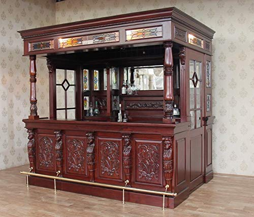 Glass Canopy Pub Bar - Solid Mahogany Canopy Home Pub Bar w/Doors & Stained Glass