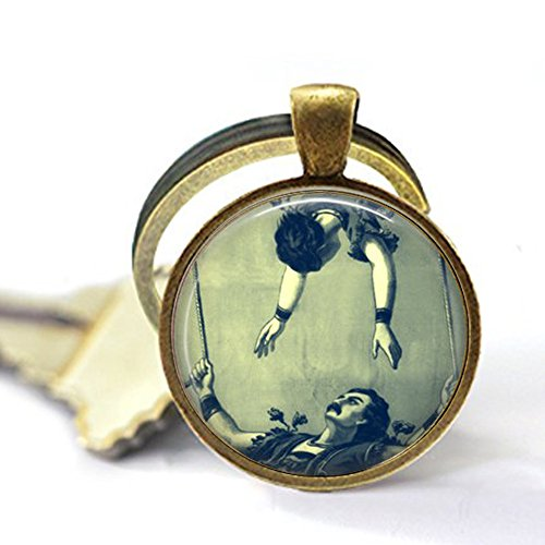 - Flying Trapeze Keychain - Circus Jewelry - Acrobats - Gymnast - Without a Net - Victorian Circus - Vintage Acrobat - Circus Act
