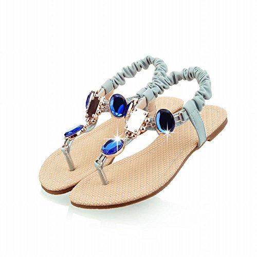 Carol Chaussures Mode Femmes Strass Brillants Chaînes Casual Tongs Tongs Sandales Bleu Clair