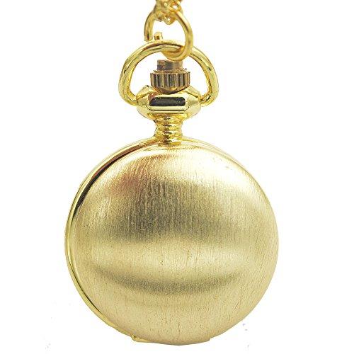 - timeconcept Plain Golden Tone Polish Lady Women Necklace Mini Japan Quartz Movement Pocket Watch