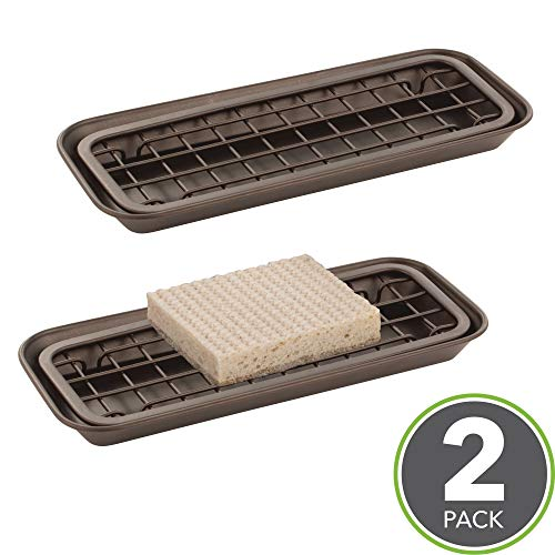 mDesign Kitchen Sink Tray for Sponges, Scrubbers, Soap - Pack of 2, Bronze