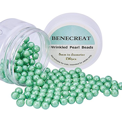 BENECREAT Pack of 150pcs Round Glass Pearls Beads with Uneven Pastel Colored Coatings Box Set (8mm Lime - Glasses Uneven