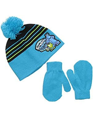 Disney Baby Boys' Monsters University Beanie with Pom and Mitten Set