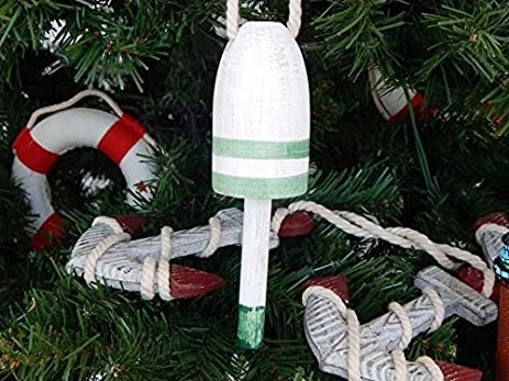 Amazon.com: wooden vintage green maine lobster trap buoy christmas