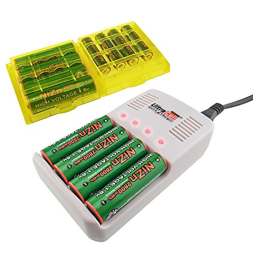 UltraCell Plus NiZn 1.6v AA - 2800mWh, AAA - 1150mWH High Voltage Rechargeable Batteries With Battery Box and Charger (Combo for 4pcs AA, 4pcs AAA, 2pcs Yellow Battery Boxes, 1pcs NiZn Charger)