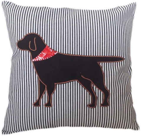 HOMETALE® Dog Applique with Striped Background Decorative Throw Pillow COVER 18