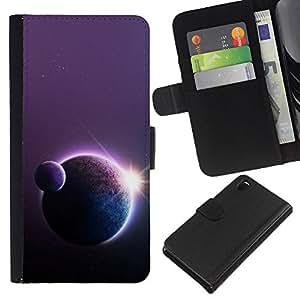 KLONGSHOP // Tirón de la caja Cartera de cuero con ranuras para tarjetas - Universo Espacio Planetas Sol la estrella del arte Fila Cosmos - Sony Xperia Z3 D6603 //