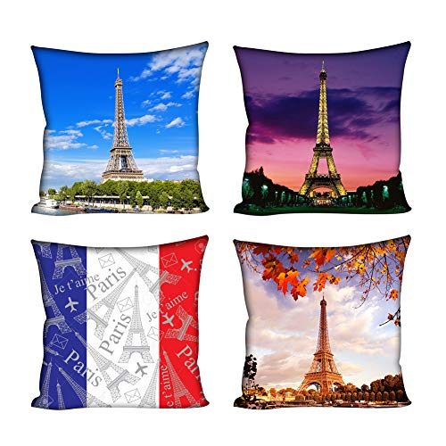 Instantarts Pillow Covers Soft Cushion Cover Throw Cases Decorative Bed Set of 4 Pieces(Eiffel Tower)