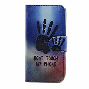 LEMORRY Samsung Galaxy S5 / G900 Wallet Flip Case, DON'T TOUCH MY PHONE Protective Soft Silicone TPU Cover + Durable PU Leather Cards Slot Stand-View Bumper Magnetic Pouch