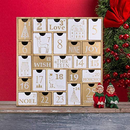 Juegoal Advent Calendar with 25 Drawers Countdown to Christmas