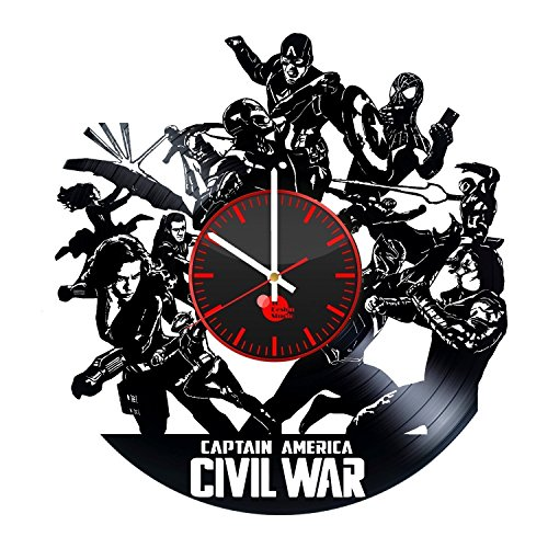 Captain America Civil War Handmade Vinyl Record Wall Clock Fun gift Vintage Unique Home decor... Captain America Vinyl