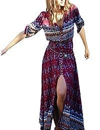 ffd81d6b1da Evaliana Women Bohemia Folk Ethnic Gypsy Mexician Summer Beach Maxi Dress
