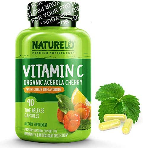 NATURELO Premium Vitamin C with Organic Acerola Cherry and Citrus Bioflavonoids - Whole Food Powder Supplement - Not Synthetic Ascorbic Acid - 500 mg - Non-GMO - Raw Vegan - 90 Capsules