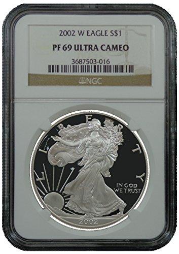 2002 W American Silver Eagle Dollar NGC PF69