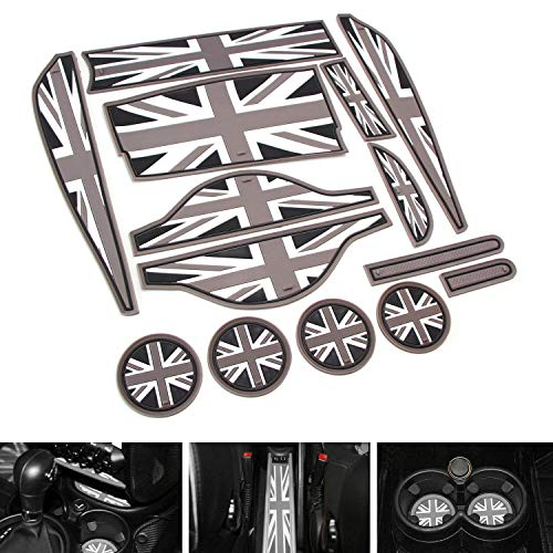 iJDMTOY Union Jack Style Silicone Interior Cabin Mats for 11-16 Mini Cooper R60 Countryman, 14-Piece Black/Grey Cupholder Coasters, Side Door Compartment/Glovebox/Center Console Liners