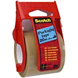 Scotch Packaging Tape on Easy Start Dispenser, 48 mm x 20.3 m - Brown, Pack of 1