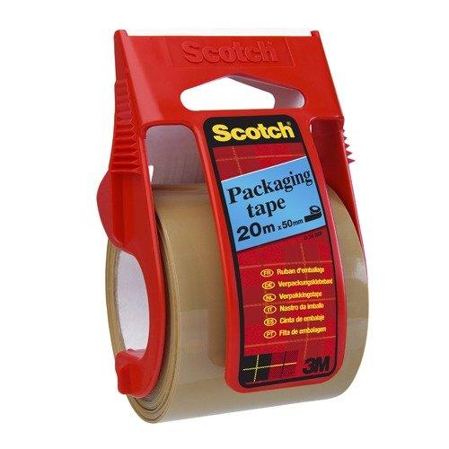 Scotch, Nastro da Imballo Packaging Tape con Dispenser, Imballaggio Pacchi e Scatole, 1 Rotolo e 1 Dispenser, Colore Marrone, 50 Mm X 20 M 3M C5020D