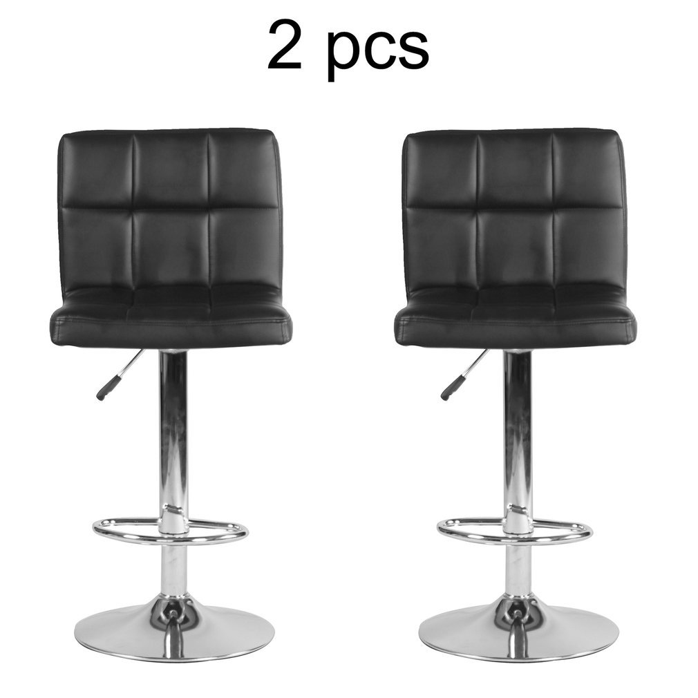 Blackpoolfa Set of 2 Premium Bar Stool Multifunctional Modern Adjustable Swivel Barstools Hydraulic Chair with Backrest -Pack of 2 PU leather Medical Spa Salon Stool (black)