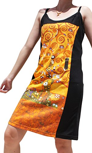 Raan Pah Muang Gustav Klimt The Tree of Life Black Side Dress, XXXX-Large