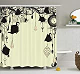 Ambesonne Antique Decor Shower Curtain, Antique Background with Tea Party Theme Diamonds Feathers Forks Spoons Cups Image, Polyester Fabric Bathroom Set with Hooks, Black and Avocado Green