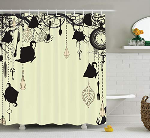 Antique Background with Tea Party Theme Shower Curtain