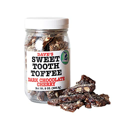 Dave's Sweet Tooth Toffee, Dark Chocolate Cherry Flavor with Real Butter, Real Sugar, and Hand-sliced Almonds, Handmade, Homemade, Naturally Gluten-Free, Kosher Certified, 8.0 oz Resealable Jar