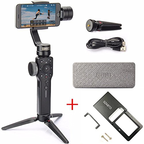 Zhiyun Smooth 4 3-Axis Handheld Stabilizer Handheld With Adapter For Smartphone Comes IPhone, Samsung. Huawei E GoPro Hero 6/5/4/3 Wireless Controller (The Latest Version + (Axis Adapter)